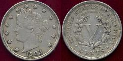 Us Coins - 1903 LIBERTY 5c XF