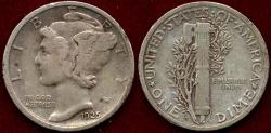 Us Coins - 1925-D MERCURY 10c  VF30