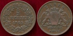 World Coins - BADEN 1865  1/4 KREUZER
