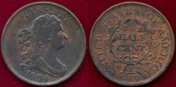 Us Coins - 1804 Pl.4, Stemless  HALF CENT   AU