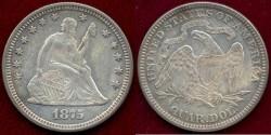 Us Coins - 1875  SEATED 25c  AU55