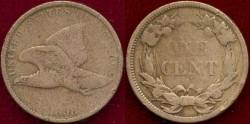 Us Coins - 1858 lg. ltrs.  FLYING EAGLE 1c  VG
