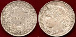 World Coins - FRANCE 1888A ..... 1 FRANC  UNCIRCULATED