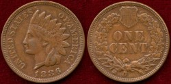 Us Coins - 1886 Type 2   INDIAN  1c   About UNCIRCULATED