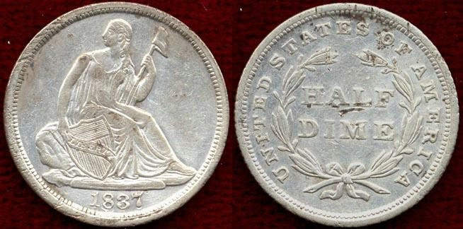 US Coins - 1837 No Stars Seated  HALF DIME .......  EXTRA FINE