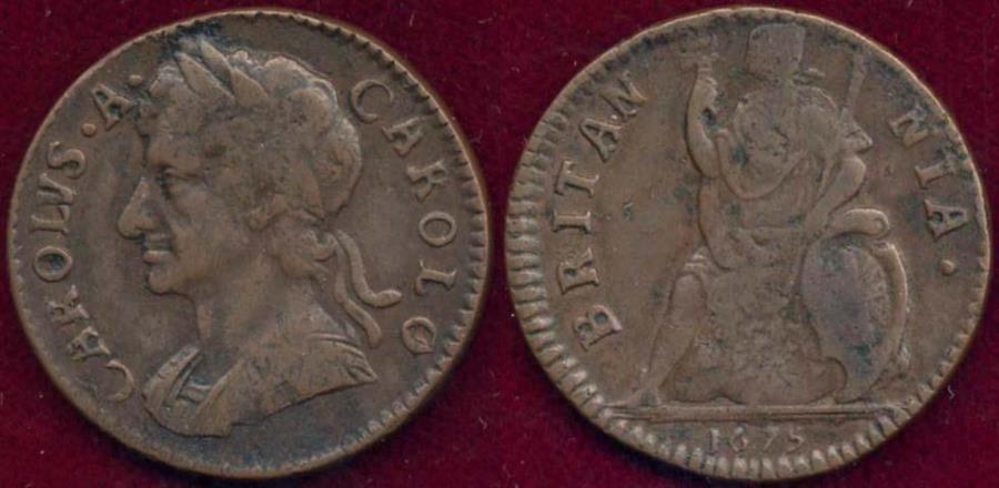 World Coins - GREAT BRITAIN 1675 FARTHING... CHARLES II