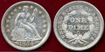Us Coins - 1854-O SEATED 10c  AU