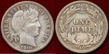 Us Coins - 1910-D  BARBER 10c  ...  VERY FINE