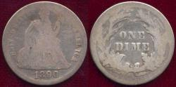 Us Coins - 1890 SEATED DIME GOOD