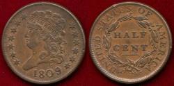 Us Coins - 1809/6  HALF CENT  AU58