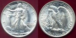 Us Coins - 1943 WALKING LIBERTY 50c  MS65  WHITE