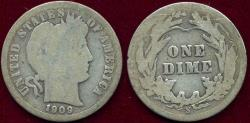 Us Coins - 1909-S BARBER DIME GOOD