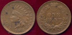 Us Coins - 1875 INDIAN 1c  .... About UNCIRCULATED