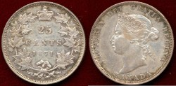 World Coins - CANADA 1871  25c  EXTRA FINE