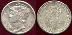 Us Coins - 1935-S MERCURY DIME AU ... Good eye appeal!