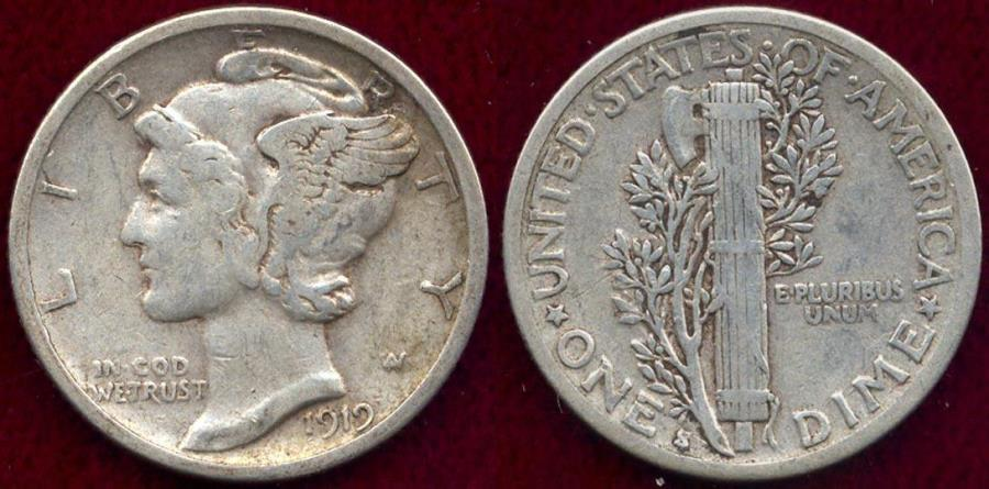 US Coins - 1919-S MERCURY 10c VF35