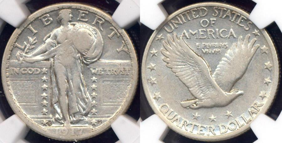 US Coins - 1917-S Type 2  STANDING LIBERTY 25c  NGC VF25