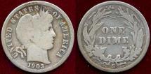 Us Coins - 1903-S BARBER 10c  VG