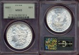Us Coins - 1887  MORGAN $1 ....  PCGS MS63