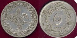 World Coins - EGYPT 1902 ABDUL HAMID II  5/10th QIRSH .. Year 27