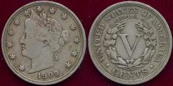 Us Coins - 1909 LIBERTY 5c XF