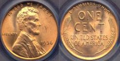 Us Coins - 1936 LINCOLN CENT MS65RD PCGS