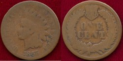 Us Coins - 1865 INDIAN 1c GOOD