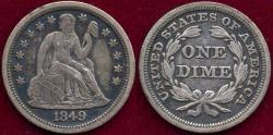 Us Coins - 1849 SEATED 10c XF45