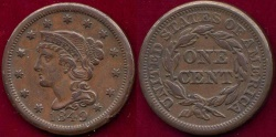 Us Coins - 1849 LARGE 1c  XF