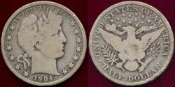 Us Coins - 1904 BARBER 50c  GD+
