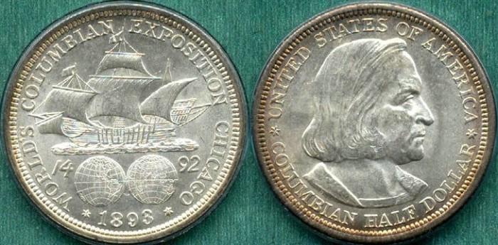 US Coins - COLUMBIAN EXPO 50c 1893..... GEM  BU  Pretty  PCGS MS64
