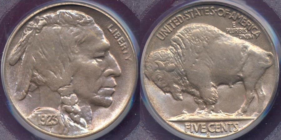 US Coins - 1923-S BUFFALO 5c MS64  very PQ+