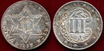 Us Coins - 1858  SILVER 3c   MS60+