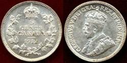 World Coins - CANADA 1912 Silver 5c........UNCIRCULATGED