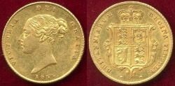 World Coins - GREAT BRITAIN 1855 GOLD  1/2 SOVEREIGN  AU