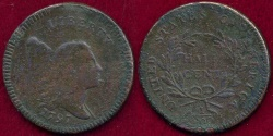 Us Coins - 1797 PLAIN EDGE  HALF CENT    XF Details