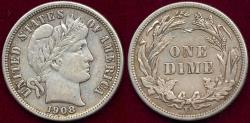 Us Coins - 1908-D BARBER 10c XF45
