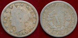 Us Coins - 1887 LIBERTY 5c .....   GOOD
