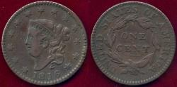 Us Coins - 1816 LARGE 1c  VF+
