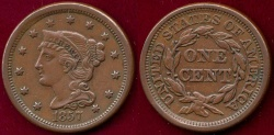Us Coins - 1857 Sm.Dt.  LARGE 1c   XF45