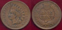 Us Coins - 1865 INDIAN 1c  VG