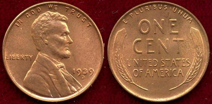 US Coins - 1939-D LINCOLN 1c MS65RB