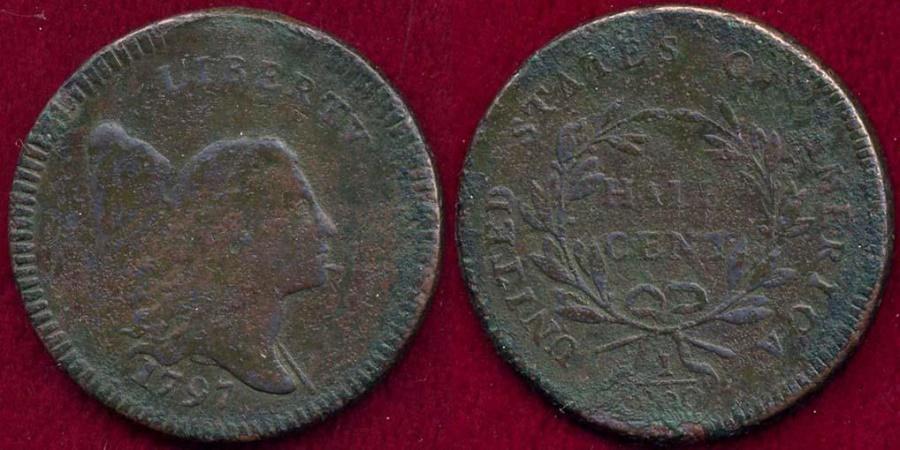 US Coins - 1797 PLAIN EDGE  HALF CENT    XF Details