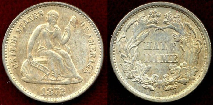 US Coins - 1872 SEATED  1/2 DIME ....  UNCIRCULATED