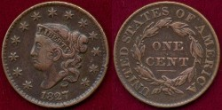 Us Coins - 1827  LARGE 1c  nice   XF
