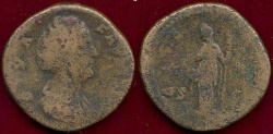 Ancient Coins - FAUSTINA, SR. 147 AD ... SESTERTIUS