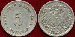 World Coins - GERMANY 1904-F.... 5 PFENNIG  XF