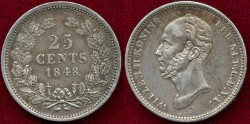 World Coins - NETHERLANDS 1848 25 CENTS ...... About  UNCIRCULAED