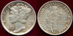 Us Coins - 1921 MERCURY 10c  XF/AU
