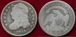 Us Coins - 1834  BUST 10c   GOOD